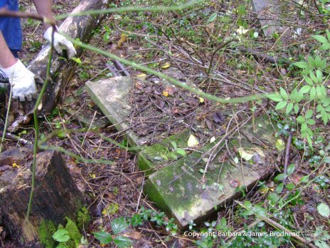 Hannah (Drake) Brodhead's stone as found