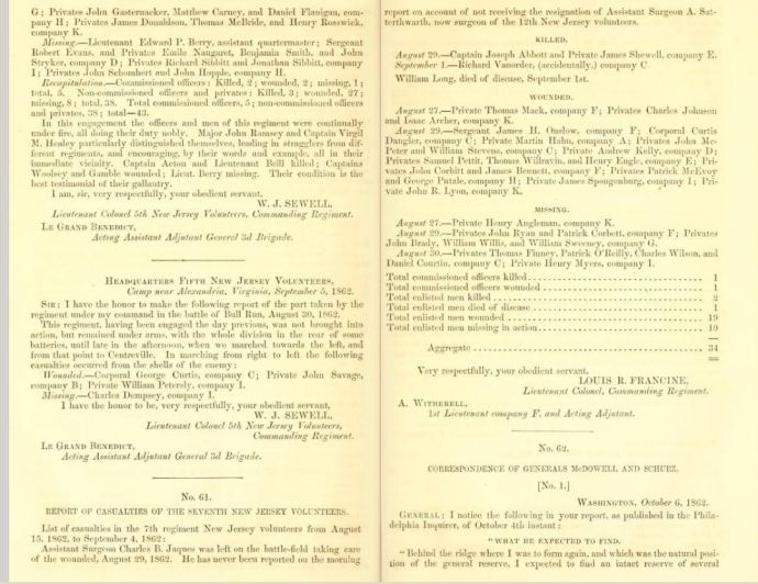 Report of Major-General John Pope. Letter from the secretary of War, pub. 1863; pp 190-191