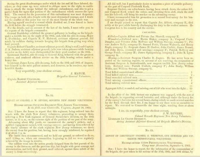 Report of Major-General John Pope. Letter from the secretary of War, pub. 1863; pp 178-179