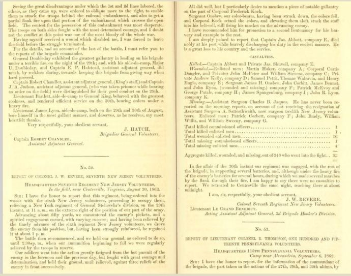Report of Major-General John Pope. Letter from the secretary of War, pub. 1863; pp 178-179