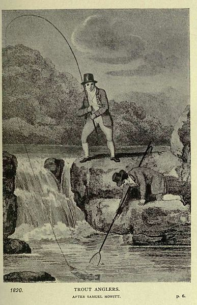 Wikimedia Commons (public domain): Trout Anglers circa 1820 from Fishing and Shooting-Buxton (1902)