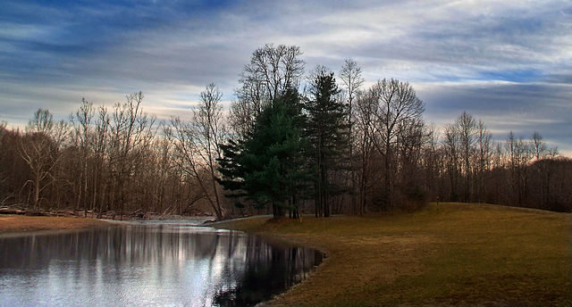 Brodhead Creek Park, Stroud Township, Monroe County, near dusk. 28 March 2007 Source: Nicholas A. Tonelli (Wikimedia Commons: This file is licensed under the Creative Commons Attribution 2.0 Generic license.
