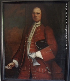 Photo of portrait of Capt. Daniel Brodhead (1693-1755), husband of Hester Wyngart, only child of Capt. Richard Brodhead & Magdalena Jansen, and grandson of Capt. Daniel Brodhead & Ann Tye Current location: Senate House, Kingston, NY; www.senatehousekingston.org
