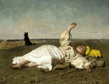 Indian Summer by Józef Chełmoński, oil on canvas, 1875 [Public domain via Wikimedia Commons]