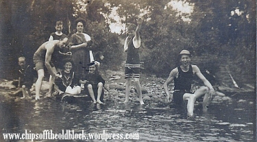 Fun near Dingman's Ferry, 1908, a snapshot from my grandmother Zillah Trewin's photo album