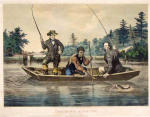 "Nathan Currier lithograph of Arthur Fitzwilliam Tait's painting ""Catching a Trout"", 1854 - Depicts fishermen catching a brook trout near South Haven Church, Long Island, NY (Wikimedia Commons: Public Domain)"
