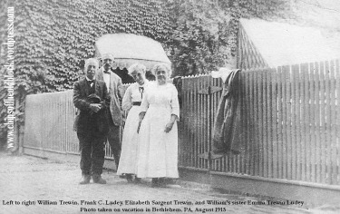 William & Elizabeth (Sargent) Trewin (my great grandparents) and Francis & Emma Ludey (William's sister & brother-in-law) on holiday, Bethlehem, PA, 1915