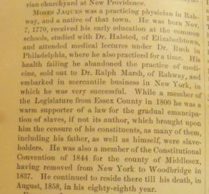 Dr. Moses Jaques bio from p. 126, History of Union and Middlesex Counties, New Jersey with Biographical Sketches of many of their Prominent Men (Philadelphia: Everts & Peck, 1882)