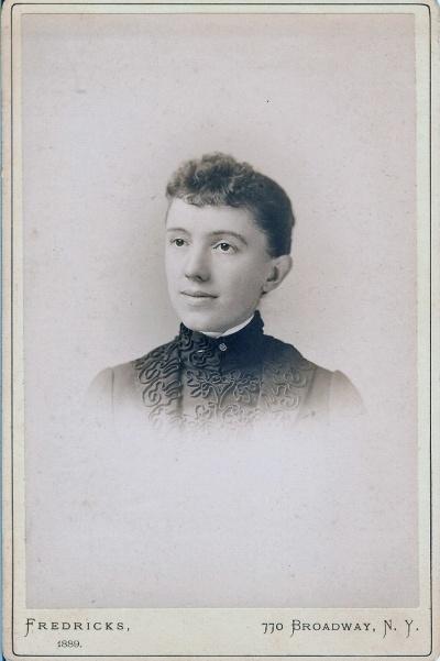 Photo taken by Fredricks, 770 Broadway, NY. Image en verso says 'Copyrighted 1881'.
