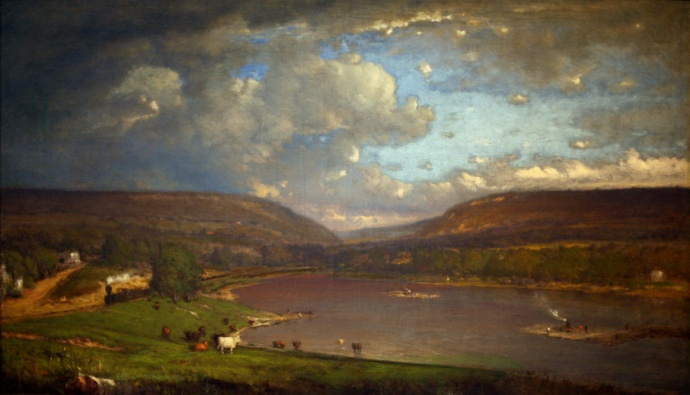 "George Inness (American, 1825-1894). On the Delaware River, 1861-1863. Oil on canvas. Current location: Brooklyn Museum of Art (Wikimedia Commons: Photographed February 2009 by Wikipedia Loves Art participant ""shooting_brooklyn""; this file is licensed under the Creative Commons Attribution-Share Alike 2.5 Generic license.)"