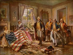 The Birth of Old Glory, painting by Edward Percy Moran, ca. 1917 (Public Domain - Wikimedia Commons)