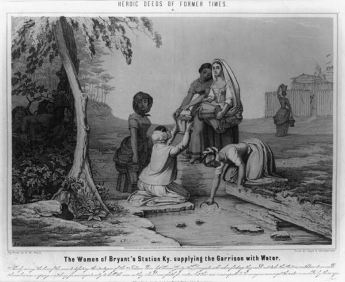 1851 print by Nagel & Weingartner: Depiction of the women of Bryan Station getting water while Native Americans, who are about to besiege the settlement, watch. Famous event in Kentucky during the American Revolutionary War.