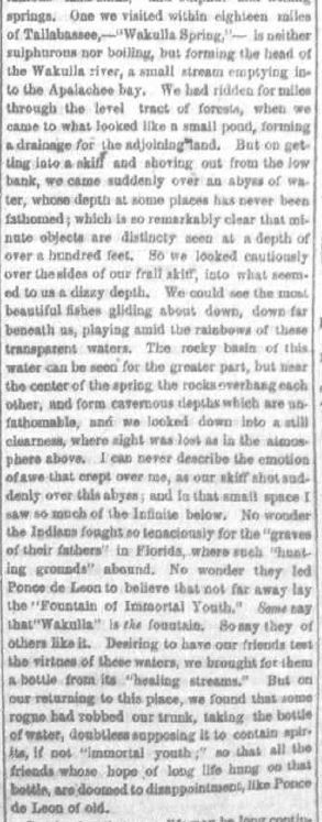 Letter from Florida, excerpt, by Miss Chloe Merrick, Syracuse Daily Standard, 16 March 1866