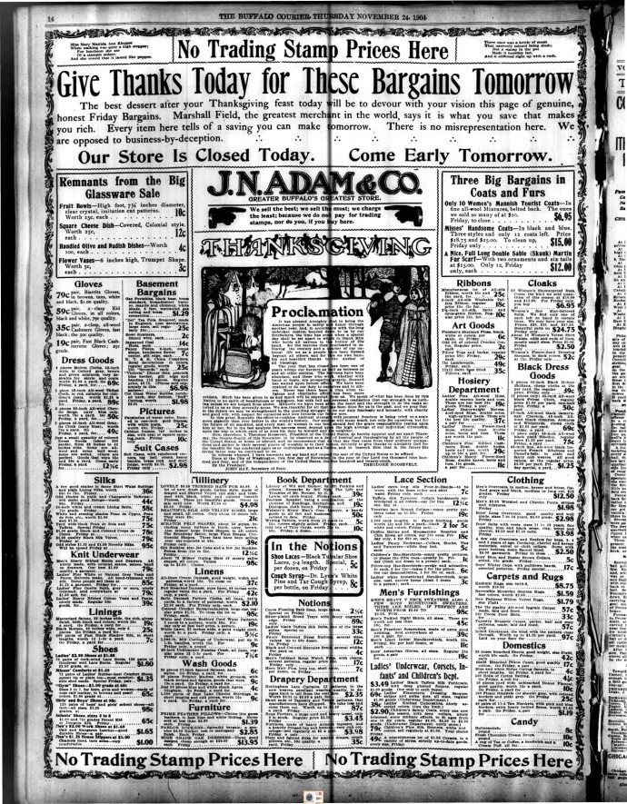Black Friday advertisement, Friday's Buffalo NY Courier, 24 Nov. 1904