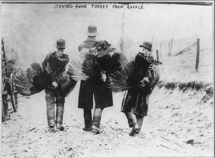 Taking Home Turkey From Raffle (Credit: Library of Congress*)