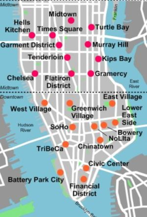 Wikimedia Commons: Manhattan neighborhoods (map); Author= Stilfehler; Oct. 15th, 2007