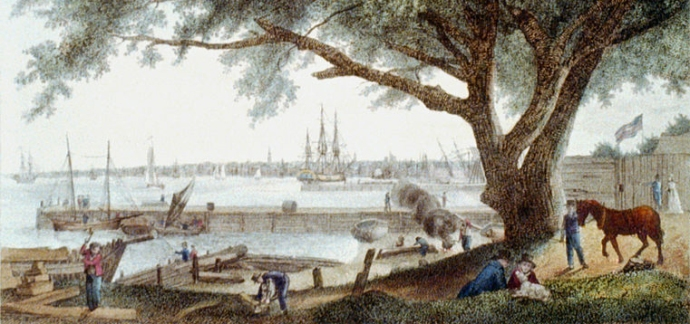 """The City and Port of Philadelphia, on the River Delaware from Kensington"". Frontispiece to The City of Philadelphia..., plate 2. Engraving, hand-colored. Wikimedia Commons: In public domain in US due to publication prior to January 1, 1923. (Image shown has been cropped)"