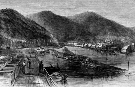 View of Mauch Chunk, Carbon County, Pennsylvania, a wood engraving sketched by Theodore R. Davis and published in Harper's Weekly, September 1869 (Found on Wikimedia Commons; image is in public domain in US)