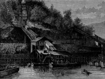 Down Among the Coal Mines -- Chutes Loading the Canal-Boats on the Lehigh Canal, a wood engraving published in Harper's Weekly, February 1873. Coal was loaded at Mauch Chunk (Image found on Wikimedia Commons; public domain in the US)