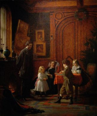 Eastman Johnson's Christmas Time -- The Blodgett Family, 1864, Metropolitan Museum of Art (Public Domain - Wikipedia)