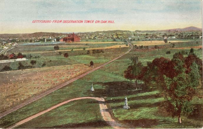An aerial view of Gettysburg from the observation tower on Oak Hill, Gettysburg, Pennsylvania, 1909. Caption [back side of the post card] reads: