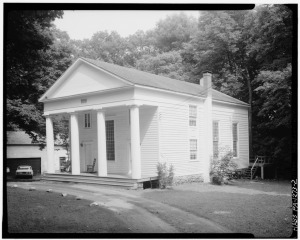 WEST (FRONT) AND SOUTH ELEVATIONS - Dutch Reformed Church, Dingmans Ferry, Pike County, PA (Credit: Library of Congress)