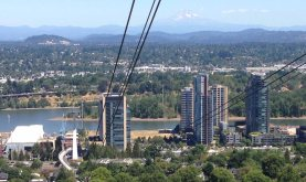 View of Mt. Hood from the Portland tram hilltop
