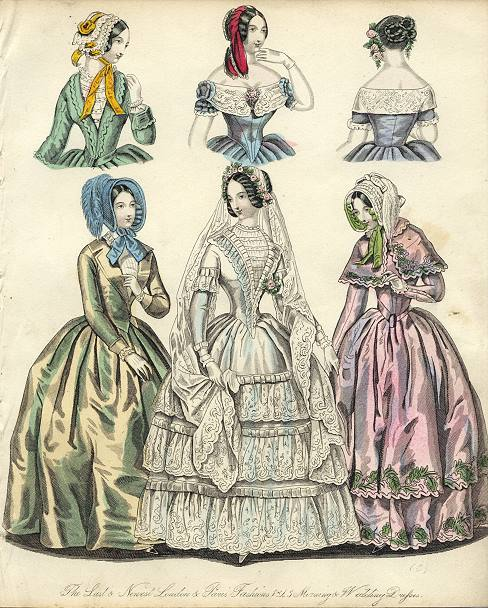 """The Last & Newest London & Paris Fashions 1845 Morning & Wedding Dresses"" Steel engraved print with original hand colouring published in The World of Fashion, 1845. Close cropped to left side. Size 17.5 x 21 cms plus narrow margins. Ref F4037 (Credit: ancestryimages dot com)"
