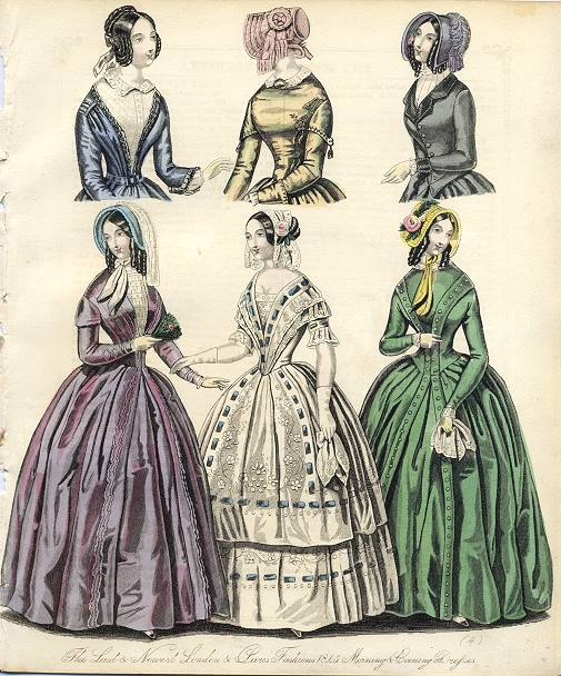 """The Last & Newest London & Paris Fashions 1845 Morning & Evening Dresses"" Steel engraved print with original hand colouring published in The World of Fashion, 1845. Close cropped to left side with slight loss. Size 17.5 x 21 cms plus narrow margins. Ref F4027 (Credit: Ancestryimages dot com)"