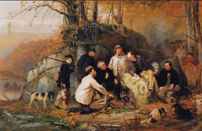 John George Brown (American, 1831-1913) Claiming the Shot - After the Hunt in the Adirondacks