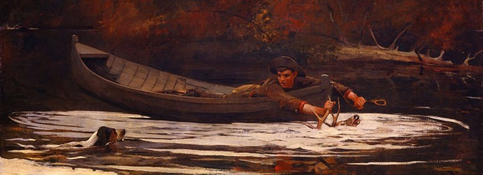 """Hound and Hunter (1892) – by Winslow Homer. Per Wikimedia: Homer's watercolor sketch for Hound and Hunter showed, lying behind the boy, a rifle that the artist later painted out. When this final canvas was exhibited in 1892, its subject was condemned as a cruel sport then practiced in the Adirondacks. Some viewers believed the youth was drowning the deer to save ammunition. The artist curtly responded, """"The critics may think that that deer is alive but he is not—otherwise the boat and man would be knocked high and dry."""""""