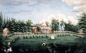 View of the West Front of Monticello and Garden, depicting Thomas Jefferson's grandchildren at Monticello, watercolour on paper by Jane Braddick Peticolas 1825