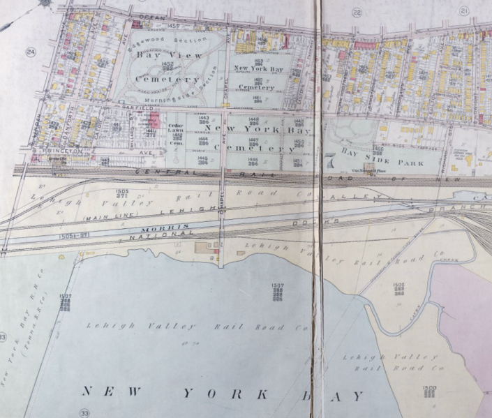 1919 map showing partial view of eastern side of Greenville Section of Jersey City along the Upper New York Bay, CM Hopkins & Co. (Credit: Wikimedia Commons)