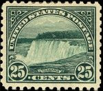 Niagara Falls stamp, 1922 (Credit: Wikipedia - By U.S. Bureau of Engraving and Printing; Designed by Clair Aubrey Houston - U.S. Post Office Smithsonian National Postal Museum; Photo image obtained/rendered by Gwillhickers, Public Domain)