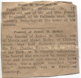 Tiny obituary, probably in the Elizabeth Daily Journal