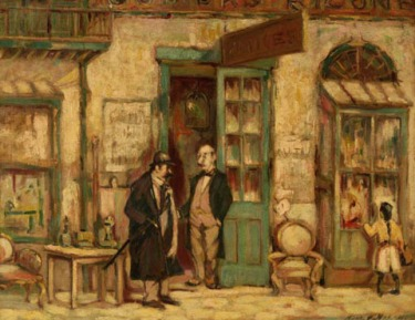 """Royal Street Antique Shop"", 1918 French Quarter of New Orleans, by Harry A. Nolan. (Wikimedia Commons - no copyright restrictions in US - This work is in the public domain in its country of origin and other countries and areas where the copyright term is the author's life plus 70 years or less. )"