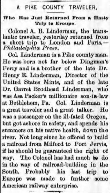 Port Jervis Evening Gazette, 9 October 1889 (Credit: Fultonhistory.org)