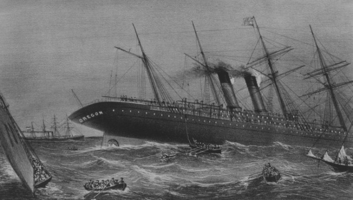 Sinking of the Cunrad Line's steamer SS Oregon, 14th march 1886, 15 miles off Long Island.
