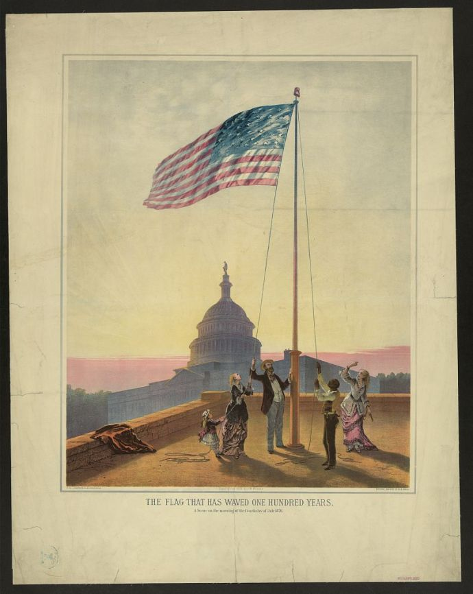 The flag that has waved one hundred years--A scene on the morning of the fourth day of July 1876 / Fabronius ; E.P. & L. Restein's oilchromo, Phila.; National Chromo Co. pub., Phila., c1876; Library of Congress - No known restrictions on publication