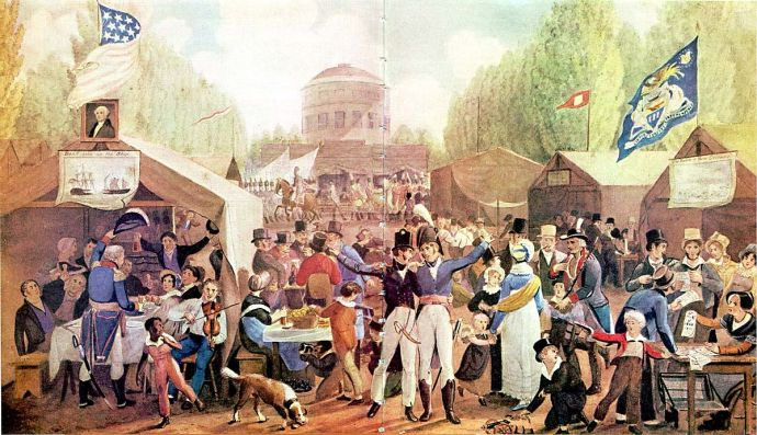 Independence Day Celebration in Centre Square, Philadelphia, John Lewis Krimmel, 1819. Credit: Wikimedia Commons - US Public Domain image - published in the US before 1923 and public domain in the US)